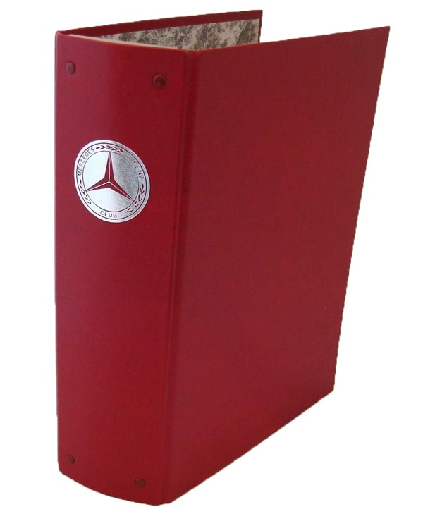 Club Gazette Binder with Silver Foil Mercedes Benz Club Logo. Takes 12 issues, and comes complete with year stickers.
