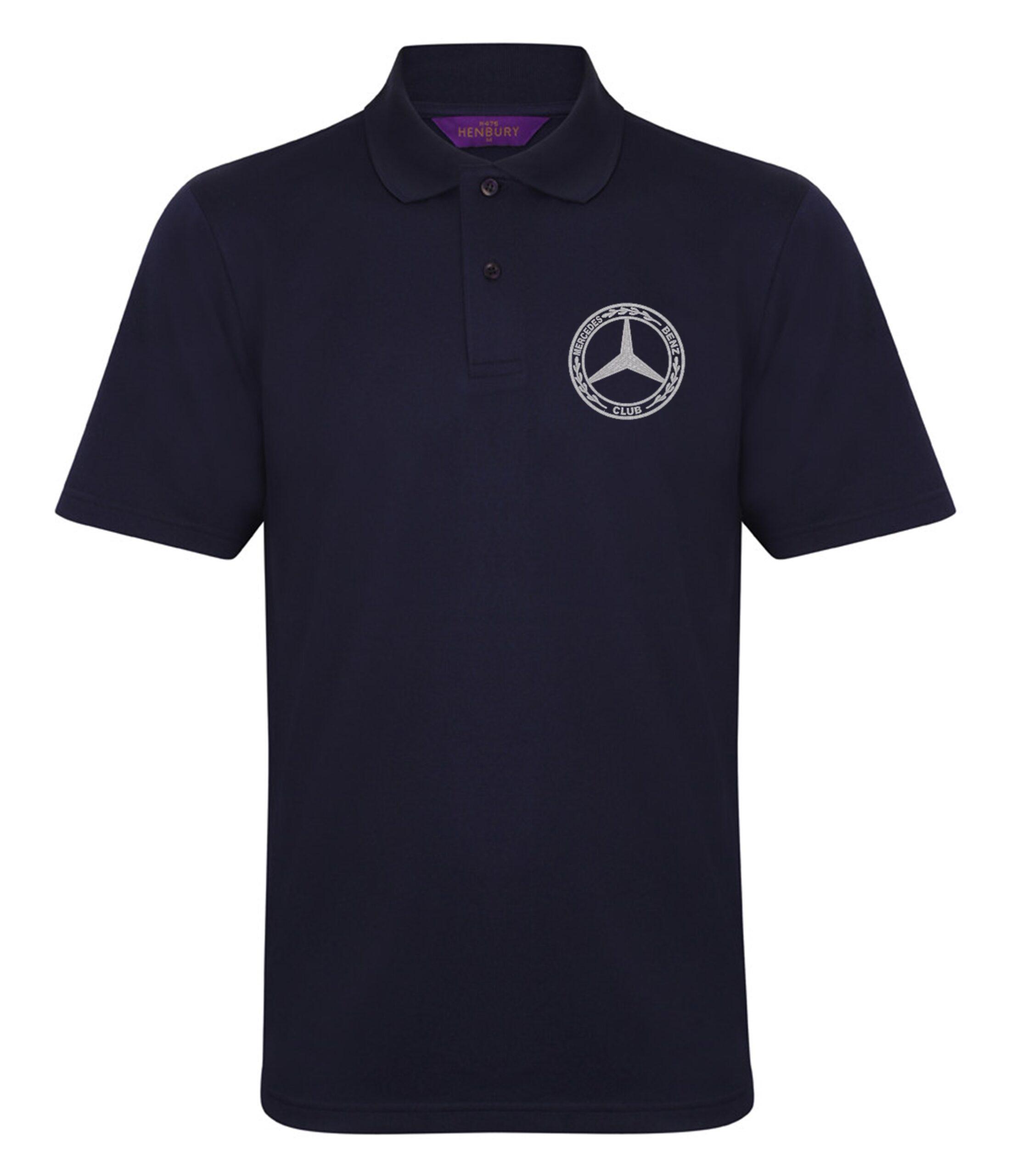 Mercedes-Benz Club Wicking Pique Polo Shirt Navy Blue