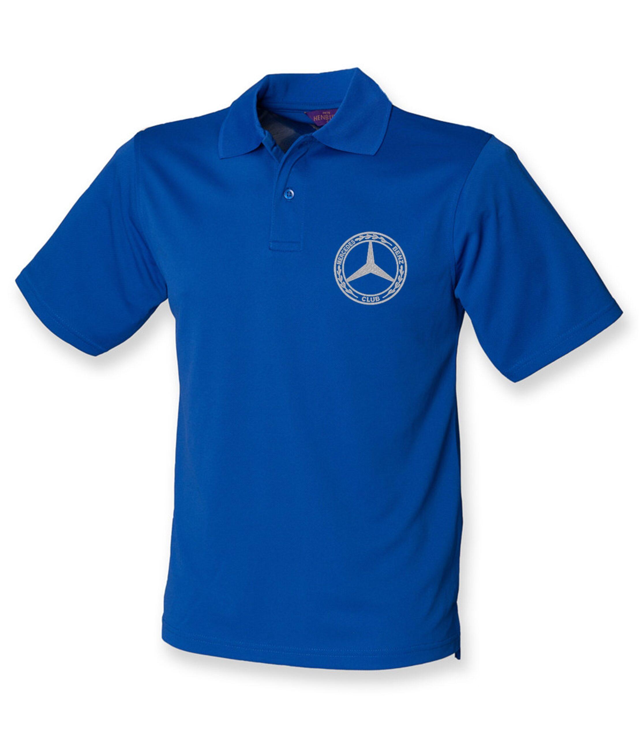 Mercedes-Benz Club Wicking Pique Polo Shirt Royal Blue