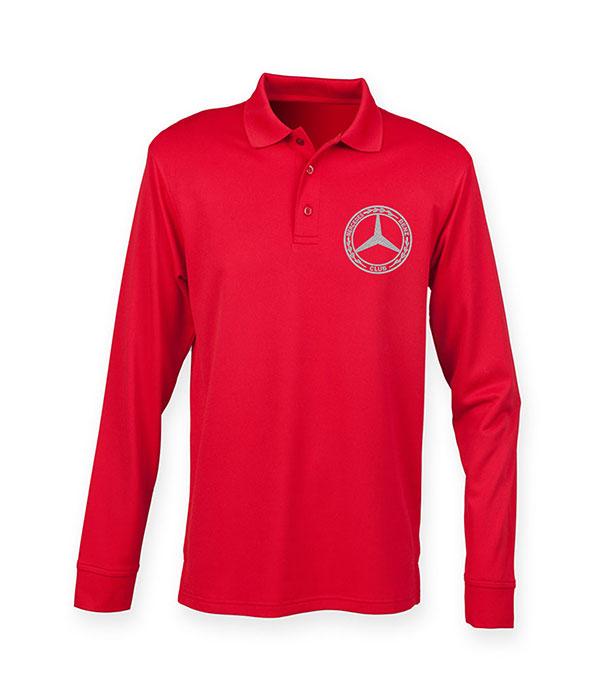 Mercedes-Benz Club Long Sleeve Coolplus Pique Polo Shirt Red