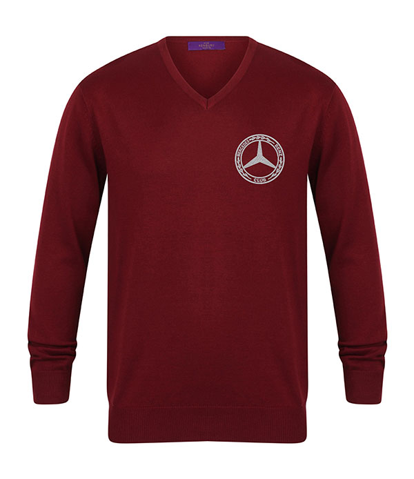 Mercedes-Benz Club Knitted V-Neck Jumper Burgundy