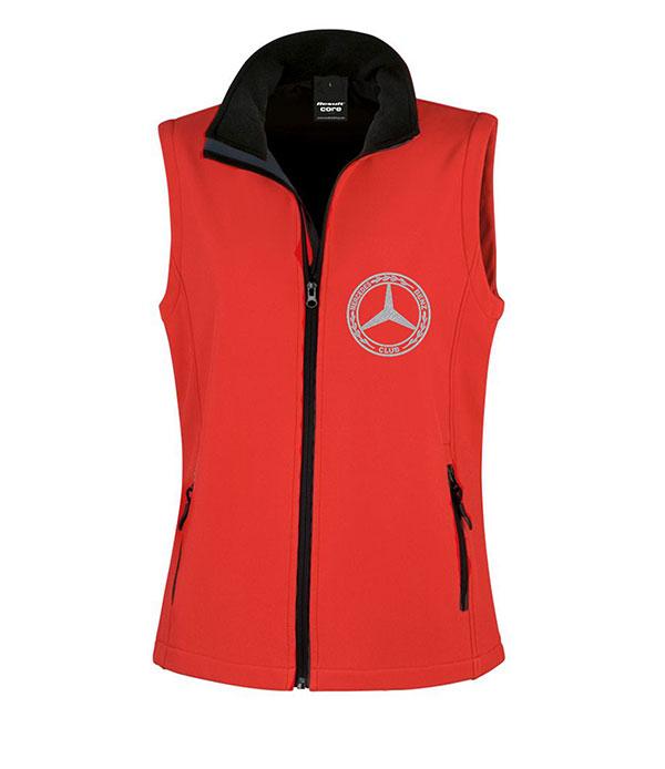 Mercedes-Benz Club Ladies Soft Shell Jacket Bodywarmer Red