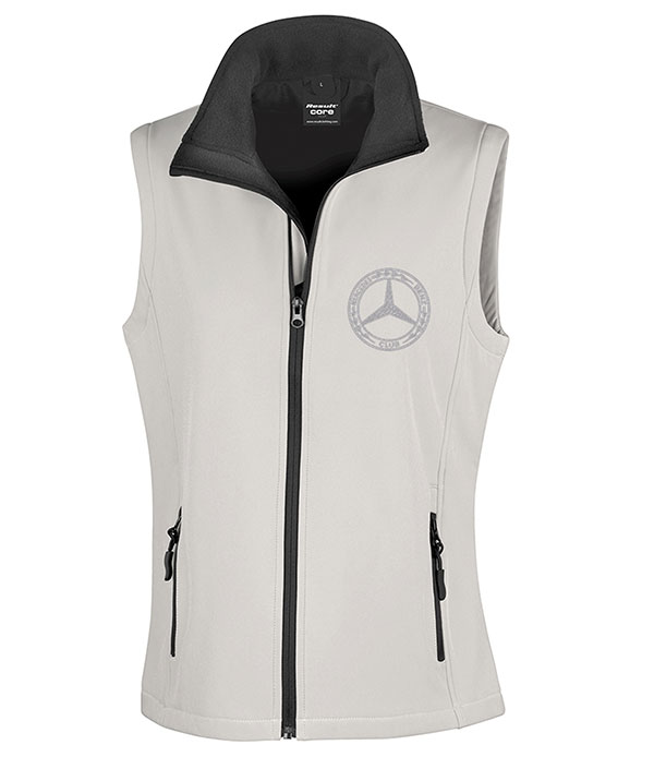 Mercedes-Benz Club Ladies Soft Shell Jacket Bodywarmer White & Black