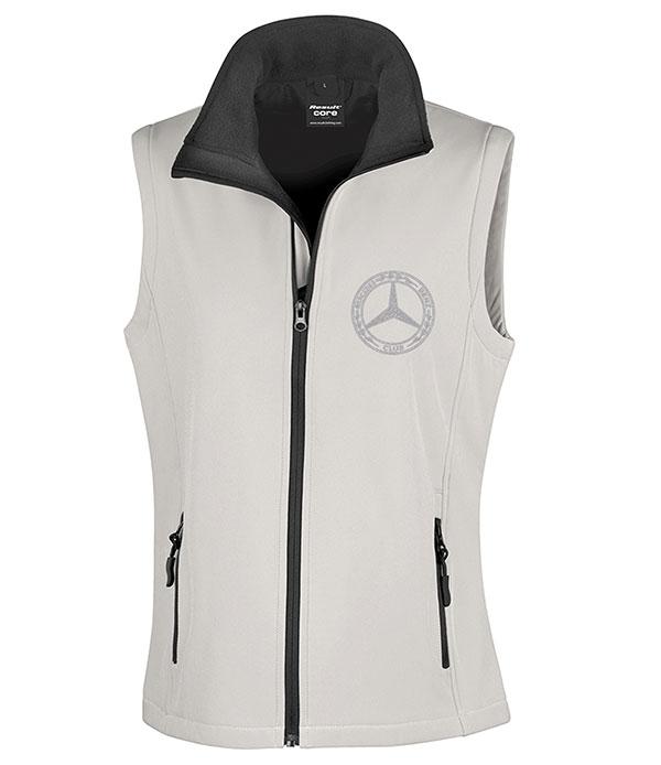 Mercedes-Benz Club Ladies Soft Shell Jacket Bodywarmer White & Black