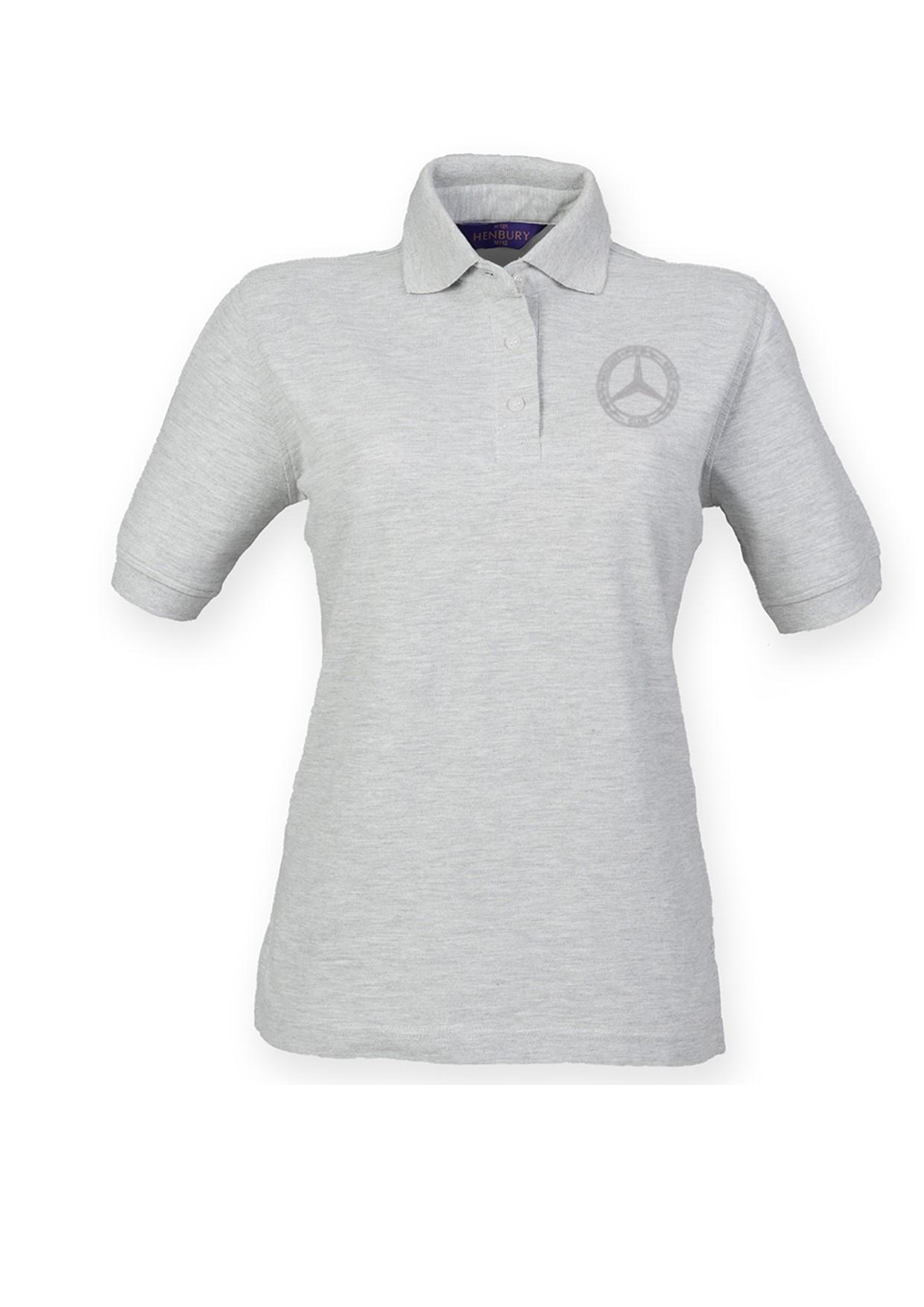 Mercedes-Benz Club Ladies Poly/Cotton Pique Polo Shirt Heather Grey