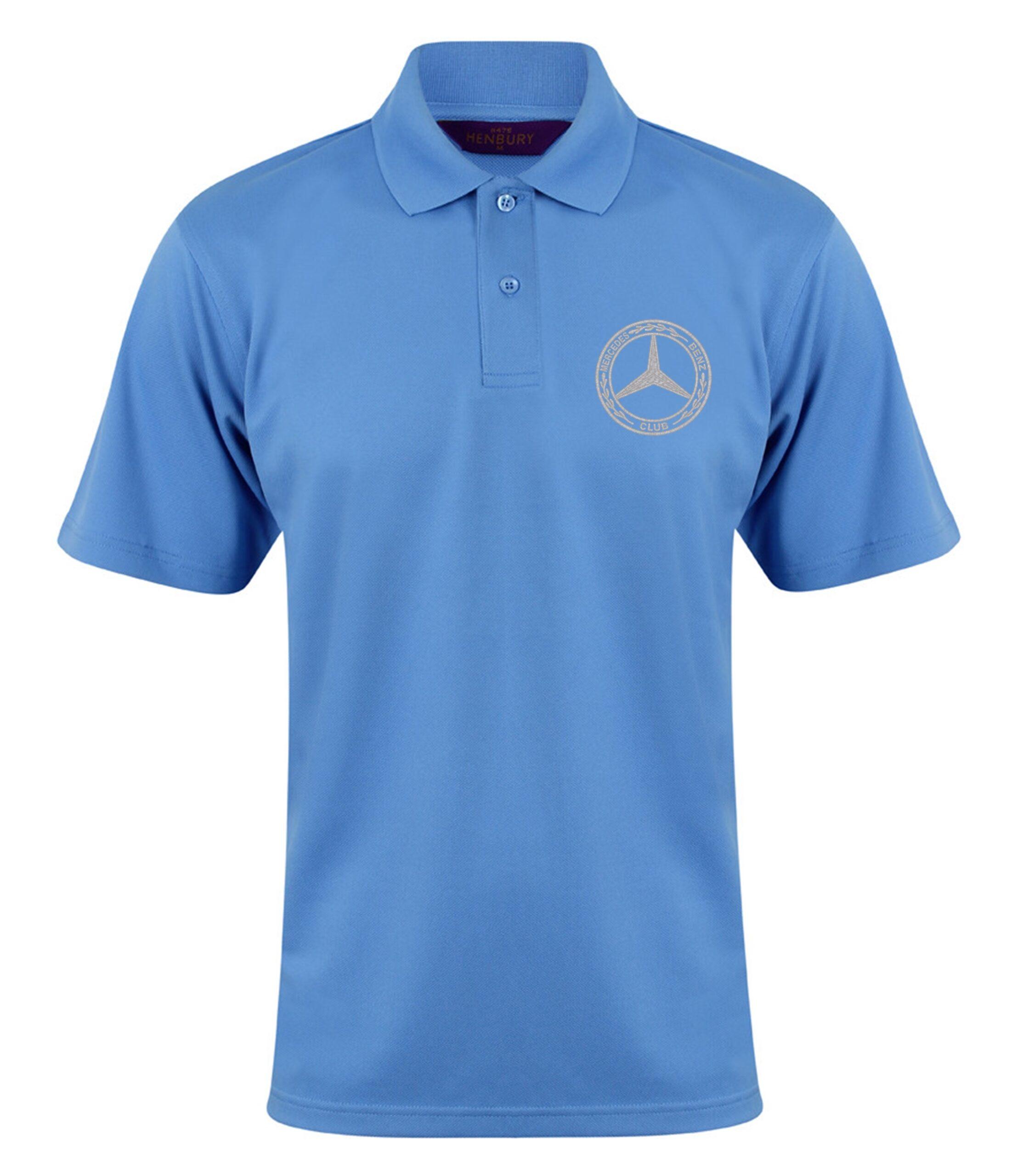 Mercedes-Benz Club Wicking Pique Polo Shirt Bottle Mid Blue