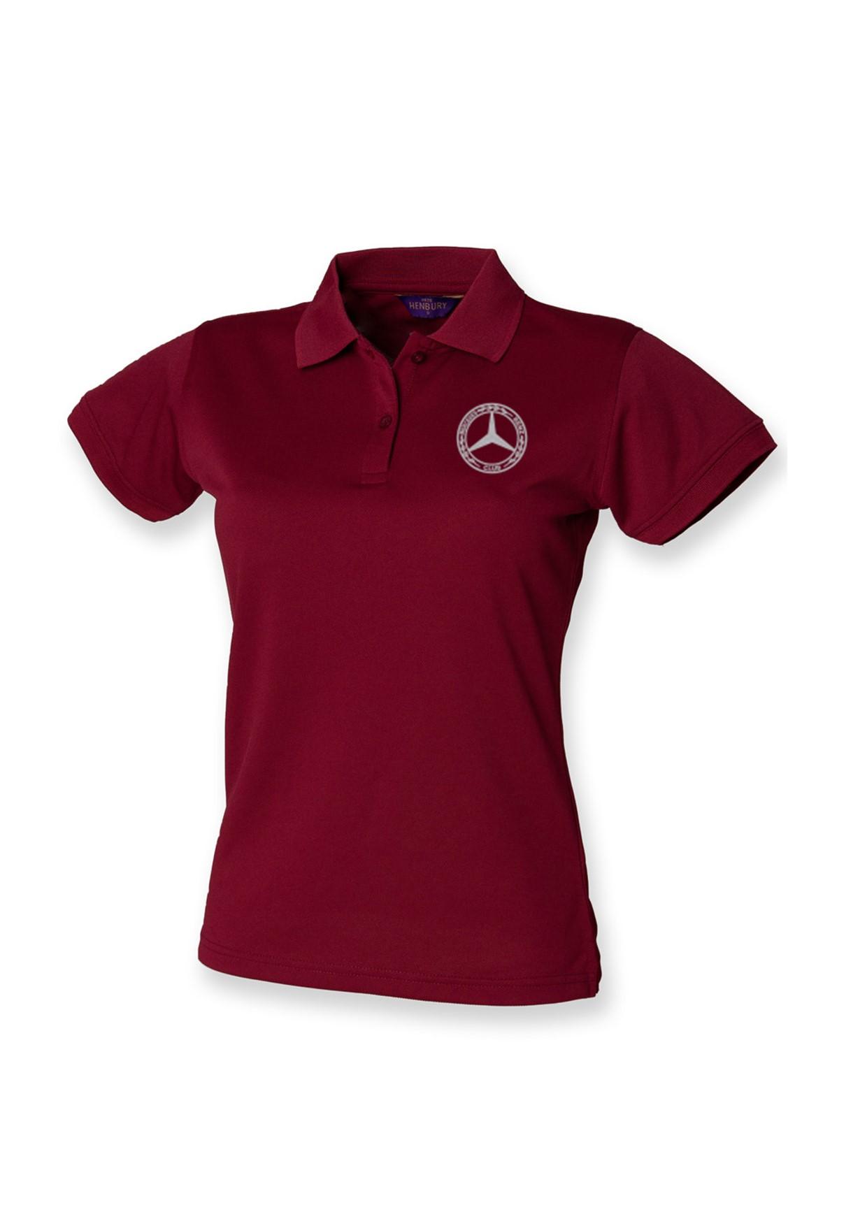 Mercedes-Benz Club Ladies Coolplus Wicking Pique Polo Shirt Burgundy