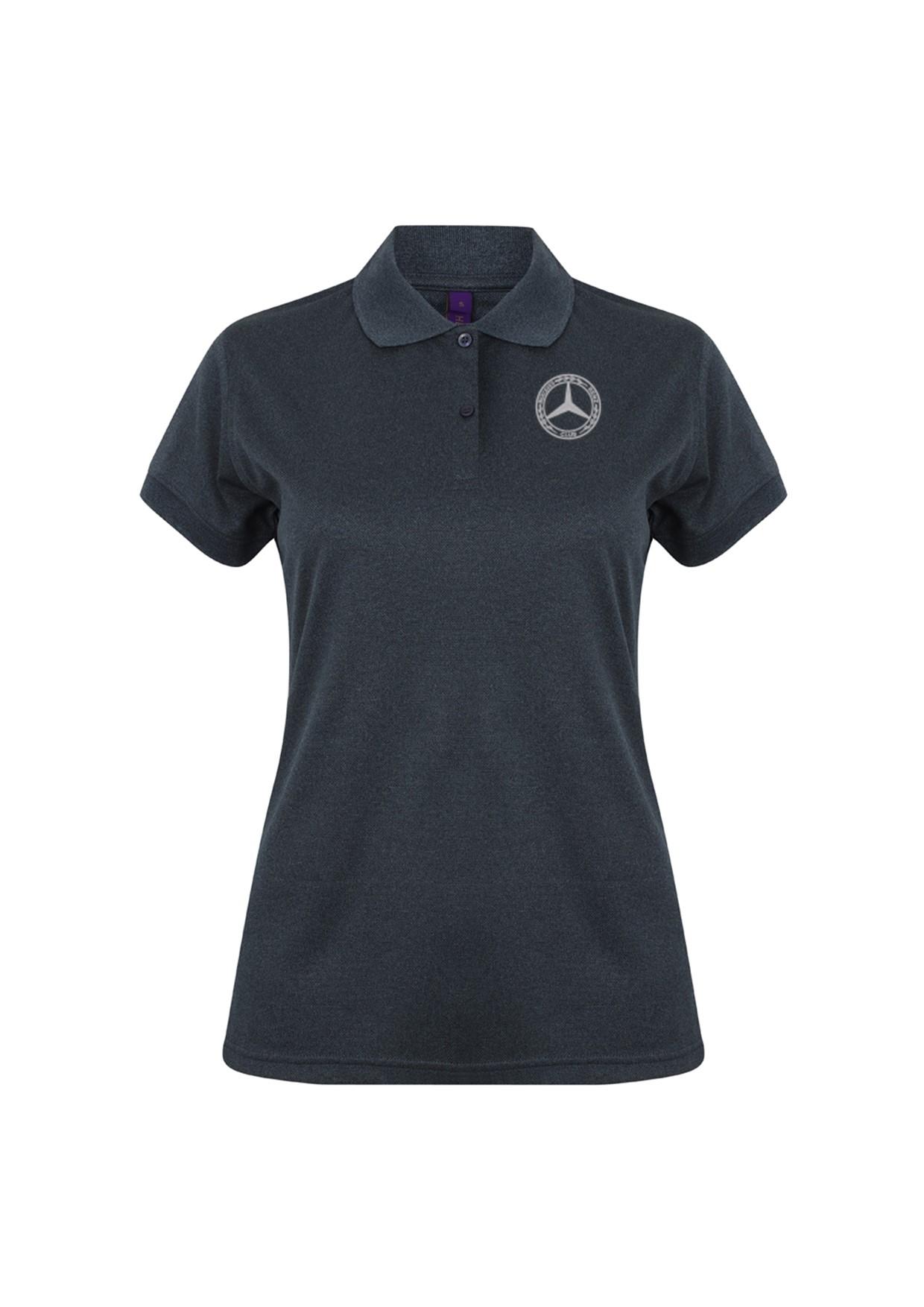 Mercedes-Benz Club Ladies Coolplus Wicking Pique Polo Shirt Heather Charcoal