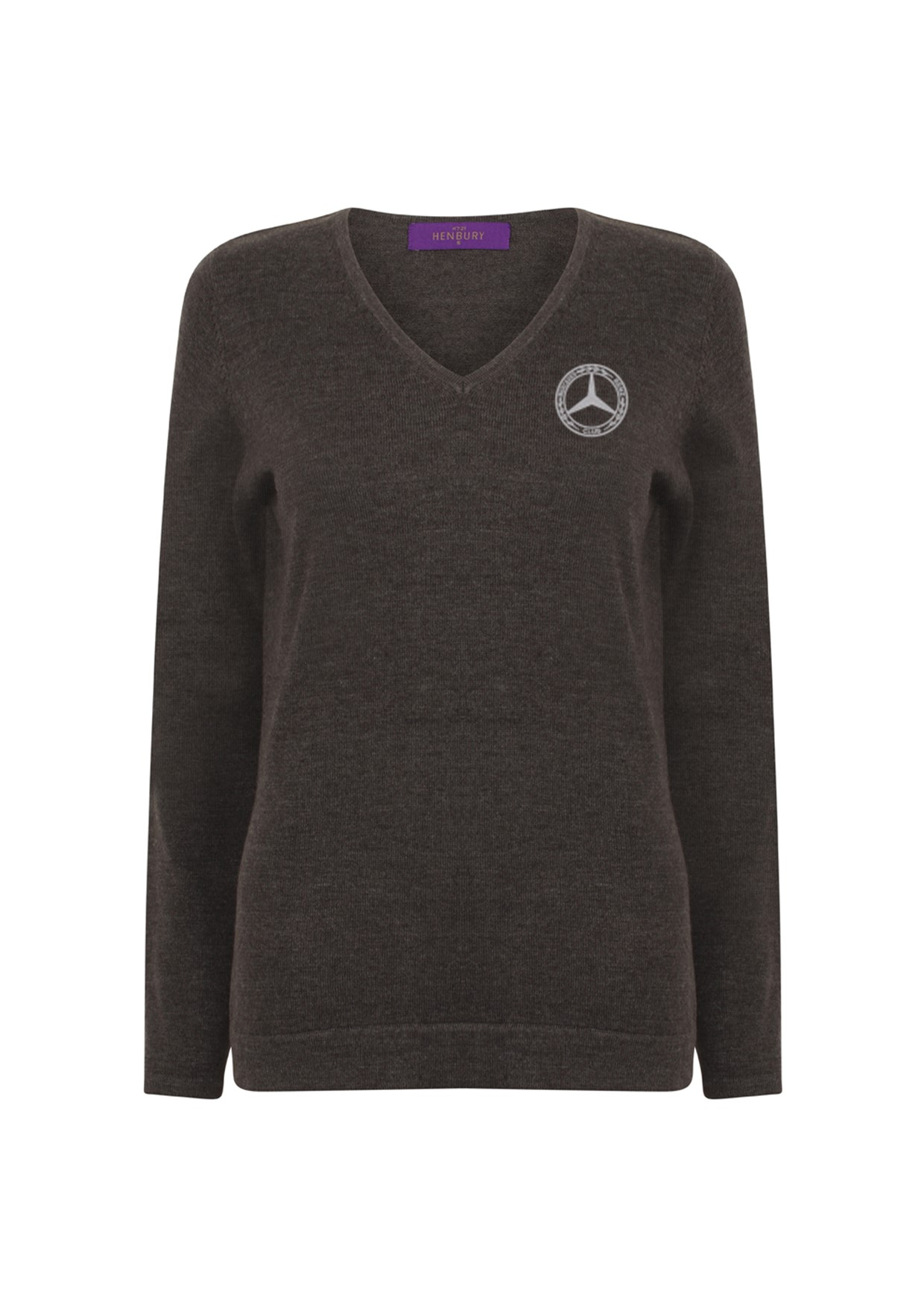 Mercedes-Benz Club Ladies Lightweight Knitted V Neck Sweater Grey Marl